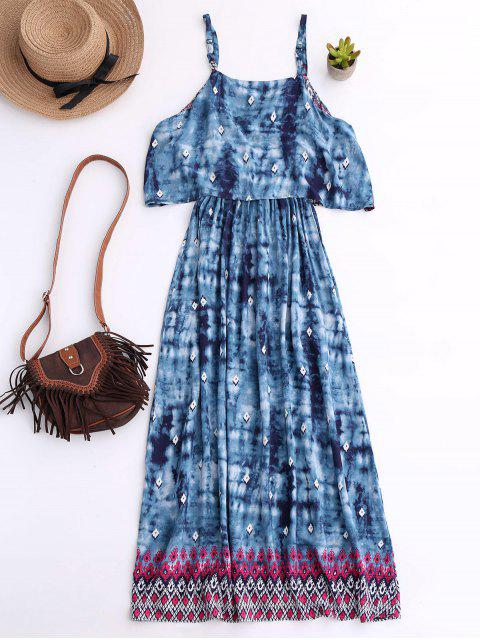 chic Printed Layered Boho Dress - BLUE M Mobile