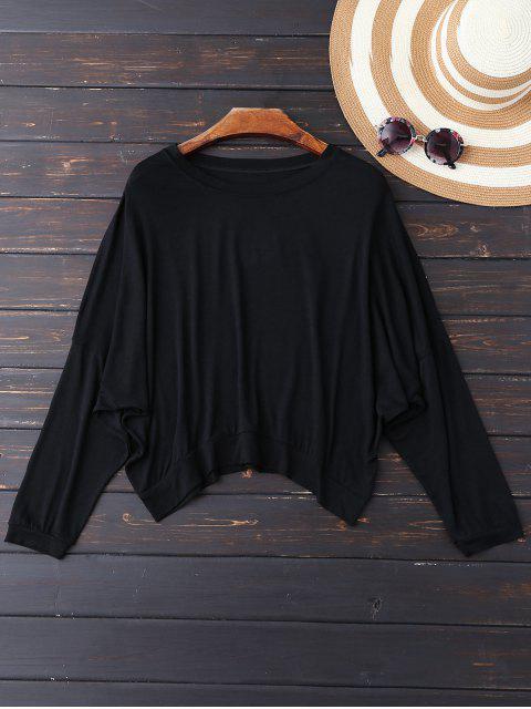 fashion Oversized Cold Shoulder Top - BLACK M Mobile