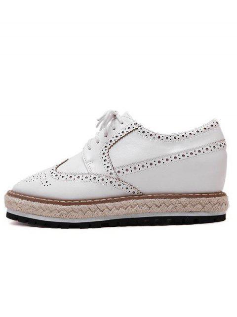 womens Wingtip Espadrilles Square Toe Platform Shoes - WHITE 39 Mobile