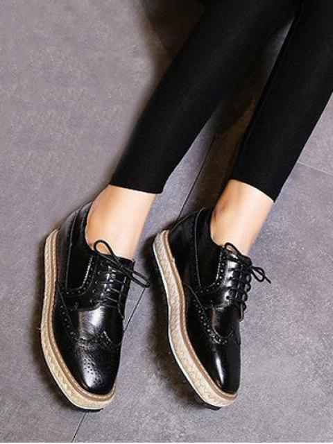 sale Wingtip Espadrilles Square Toe Platform Shoes - BLACK 37 Mobile