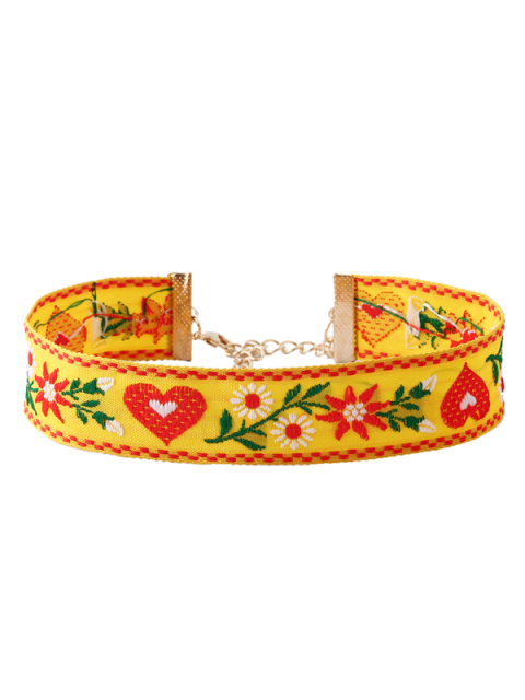 affordable Heart Flower Embroidered Choker Necklace - YELLOW  Mobile