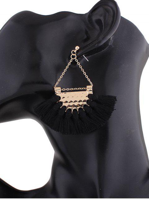 Boucles d'oreilles triangulaires avec glands en alliage - Noir  Mobile