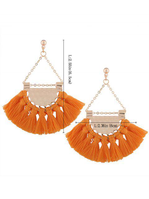 womens Alloy Triangle Tassel Drop Earrings - YOLK YELLOW  Mobile