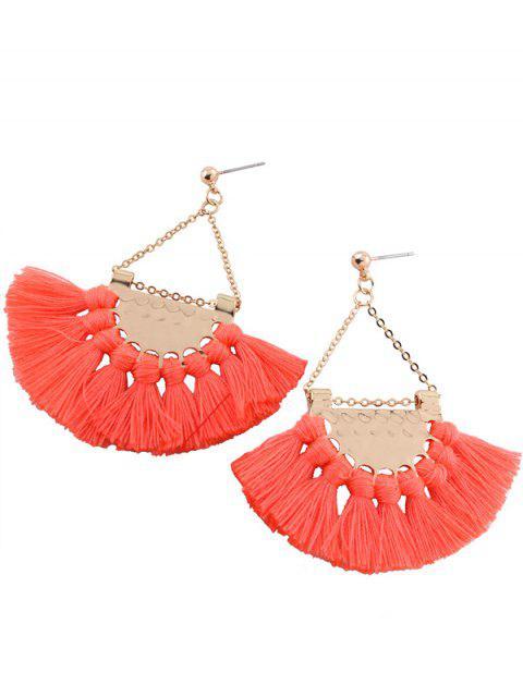 women Alloy Triangle Tassel Drop Earrings - PINK  Mobile