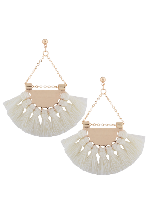 Boucles d'oreilles triangulaires avec glands en alliage - Blanc  Mobile