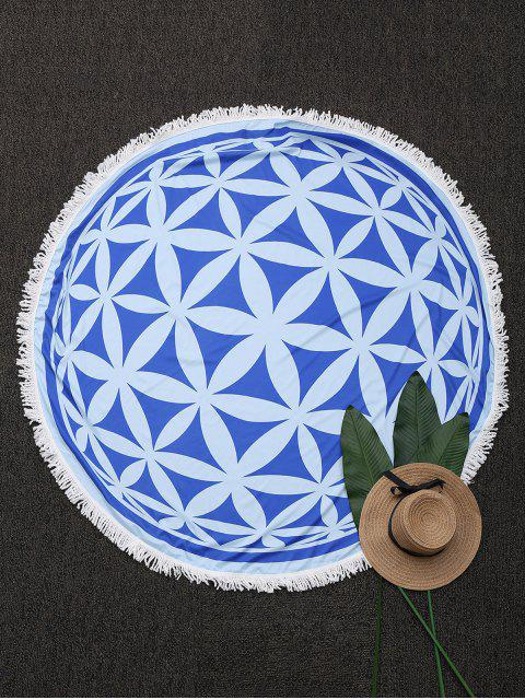 fancy Tassels Patterned Mandala Beach Blanket - BLUE ONE SIZE Mobile