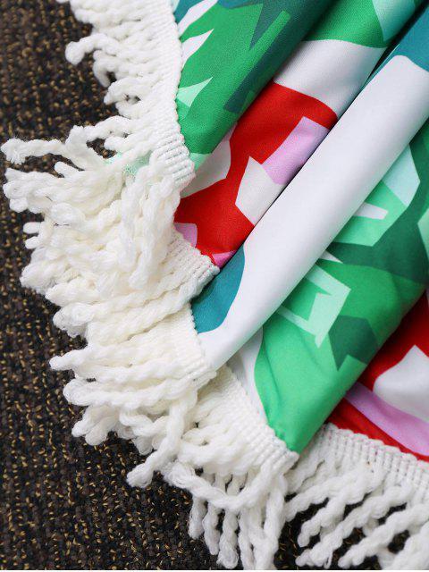 Couverture de plage ronde frangée à motifs tropicaux - Vert TAILLE MOYENNE Mobile