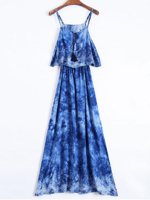trendy Layered Tie-Dyed Maxi Dress - BLUE XL Mobile