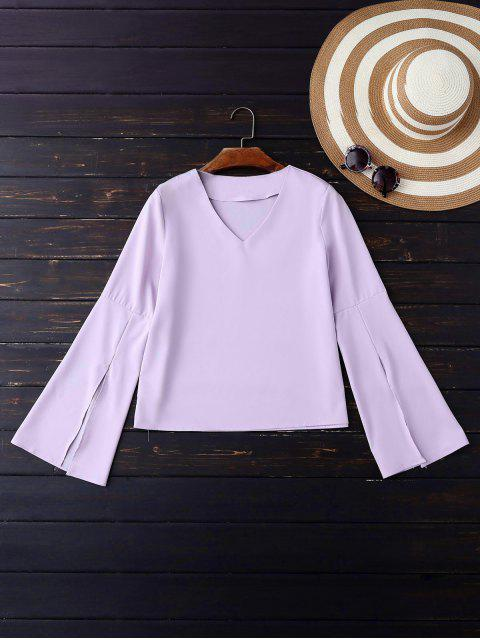 Cuello en V Manga abierta la blusa - Violeta S Mobile