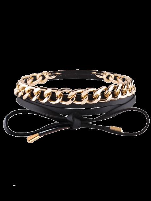 women's Faux Leather Chain Wrap Necklace - BLACK  Mobile
