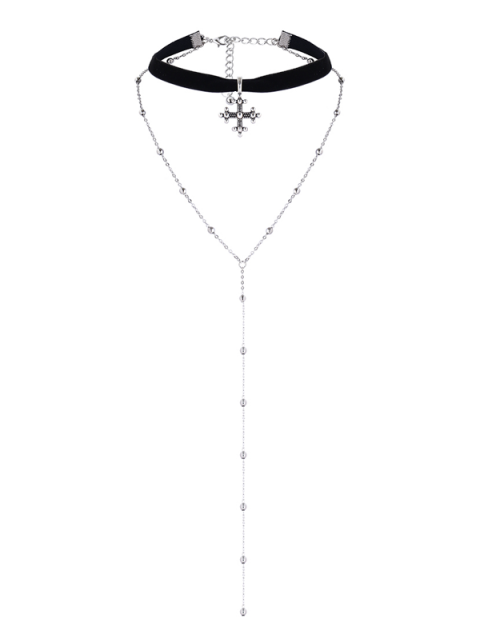 buy Layer Alloy Beaded Cross Choker - SILVER  Mobile