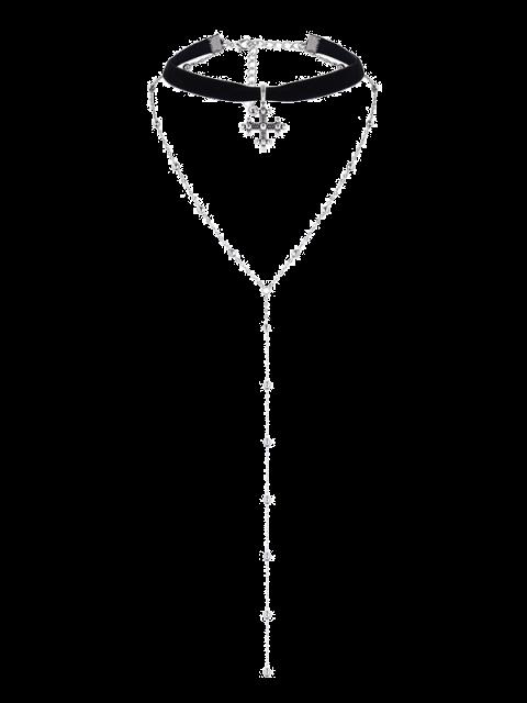 Layer Alloy Beaded Kreuz Choker - Silber  Mobile