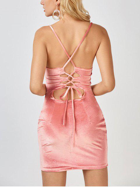Robe mini fourreau en velours avec bretelle croisé à dos - ROSE PÂLE S Mobile