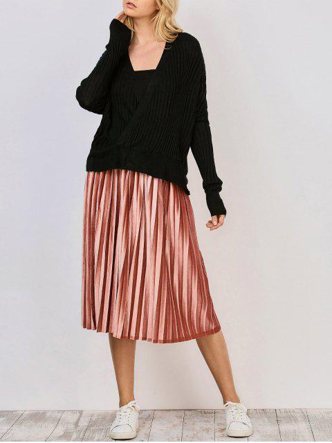 De gran tamaño cuello en V suéter acanalado - Negro M Mobile