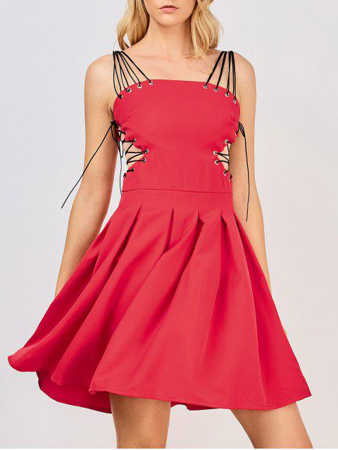 fashion Side Lace Up Skater Party Dress - RED S Mobile