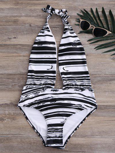 Stripe High Leg Sexy One Piece Bathing Suit - Black Xl