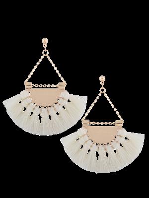 Alloy Triangle Tassel Drop Earrings - White