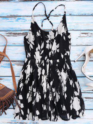 Vestido Floral De Tirante Fino De Playa Con Espalda Cruzada - Negro S