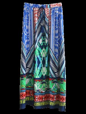 High Slit Printed Maxi Skirt - M