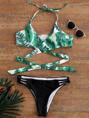 Bikini De Halter Con Cordón Con Estampado De Palma - Xl