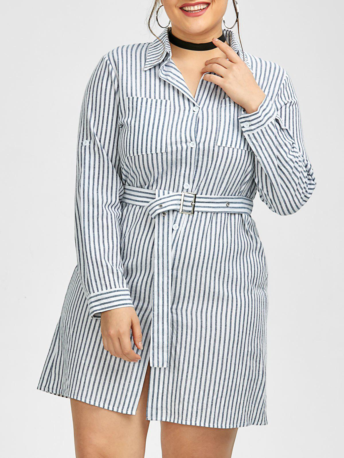 Plus Size Belted Striped Mini Work Shirt Dress