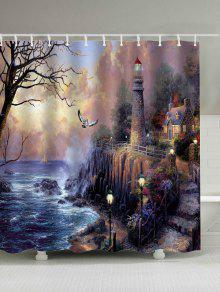 النفط اللوحة الخيال الطباعة ماء دش الستار - 180 * 200cm
