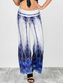 Elastische Taille Printed Hose Mit Weitem Bein - Blau L