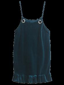 Ruffles Cami Velvet Dress - Blackish Green S