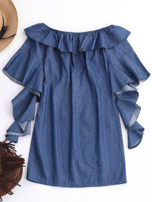 Off The Shoulder Ruffles Mini Dress - Denim Blue M