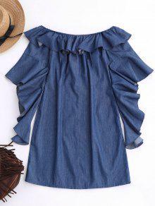 Denim Azul El Vestido Del M Hombro Mini Riza Fuera CnOw0vxqw