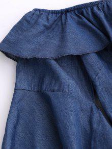 Azul Del Riza Hombro Mini Vestido El Denim M Fuera gwYRdEqR