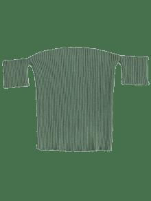 Fitted Off Shoulder Ribbed Knitwear - Pea Green S