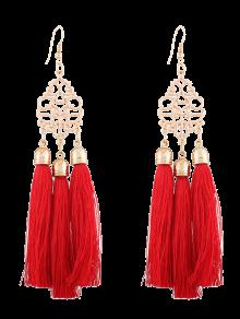 Alloy Engraved Tassel Drop Earrings - Red