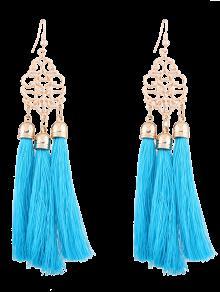 Alloy Engraved Tassel Drop Earrings - Blue