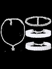 Rhinestone Lace Star Choker Necklace Set - White