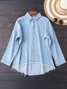 Cutoffs High Low Denim Shirt - Light Blue M
