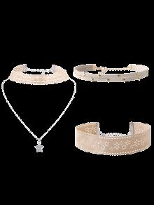 Flower Star Choker Necklace Set - Off-white