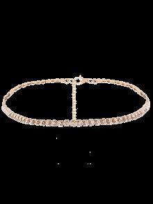 حجر الراين سلسلة قلادة - ذهبي