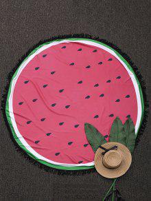رمي جولة اللون كتلة مهدب بيتش - البطيخ الأحمر