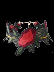 Leaf Flower Embroidered Choker Necklace - Red