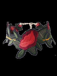 ورقة زهرة مطرزة المختنق قلادة - أحمر