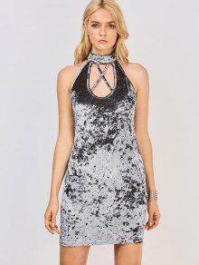 Crosscriss Velvet Bodycon Dress - Gray S
