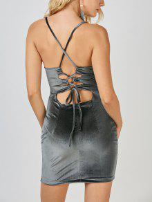Mini Vestido Ceñido De Terciopelo Con Espalda Cruzada - Gris S