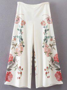 Floral Culotte Pants - White M