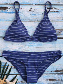 Bikinis à Rayures Bleu Foncé Col Plongeant - Bleu Xl
