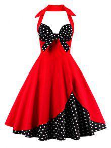 الرسن خمر رقصة البولكا نقطة اللباس - أحمر M