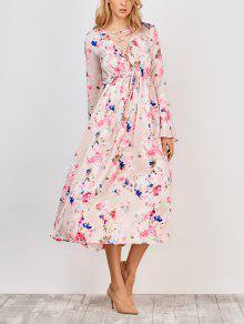 Flower Print V Neck Midi Dress - Floral S