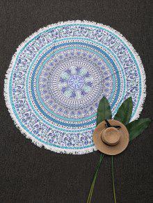Couverture De Plage Ronde Frangée Imprimée Mandala - Blanc