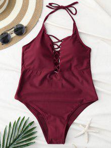 Cami Lace Up Swimsuit - Wine Red S