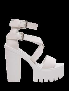 Zipper Double Belt Buckle Cross Strap Sandals - White 37